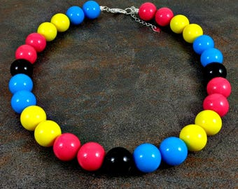 Statement Necklace, Gumball Necklace, Rainbow Necklace, Chunky Necklace, Blue, Pink, Yellow, Black, Beaded Necklace, Round Bead Necklace