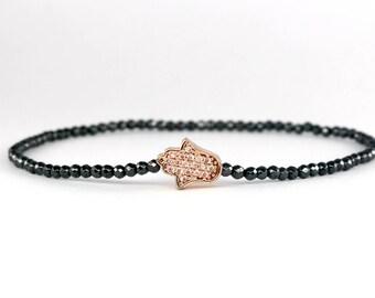 Pave Hamsa Bracelet, Beaded Hematite Bracelet, Black and Pink Rose Gold Bracelet, Dainty Pave Charm Bracelet, Evil Eye Protection Bracelet