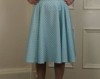 1950s reproduction full circle skirt in blue & white polka dot cotton fabric (UK S)