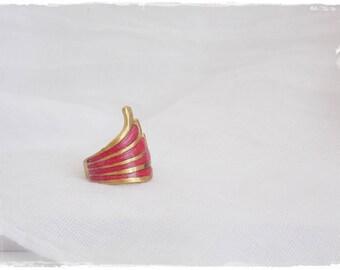 Hot Pink Ring, Brass Wing Ring, Polymer Clay Ring, Geometric Brass Ring, Gold Brass Ring, Fuchsia Pink Ring, Tribal Brass Ring, Winged Ring