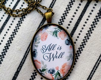 All Is Well Glass Dome Floral Necklace - Blush and Blue Flower Wreath - LDS Hymn Jewelry - Come, Come Ye Saints - Pioneer Heritage Trek