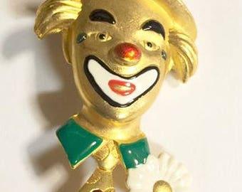 Vintage Gold Tone Enameled Clown Brooch by Danecraft