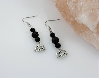 Elephant Essential Oil Earrings - Aromatherapy Earrings - Diffuser Earrings - Lava Stone Earrings - Elephant Jewelry - Pachyderm Earrings
