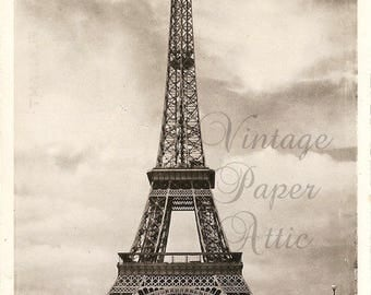 Eiffel Tower Sepia Vtg French Photo Postcard France from Vintage Paper Attic