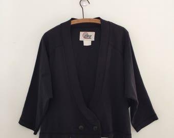 Vintage 80's Cropped Loose Fit Sweatshirt Cardigan L