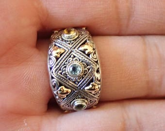 Old World Two Tone Sterling and 14k gold Band with topaz, peridot, and blue topaz