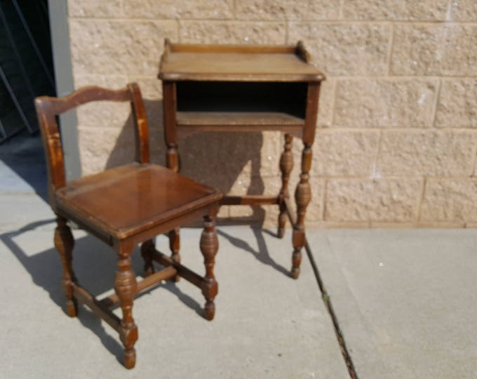 Vintage telephone table with chair or desk, antique, painting inc., PICK UP ONLY, ornate, france bedroom, shabby chic, farmhouse, country