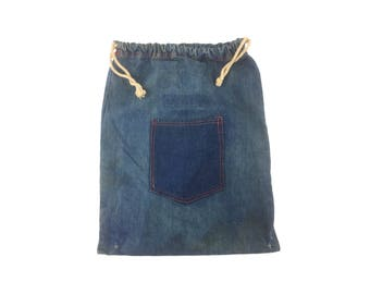 Vintage Denim Ditty Bag with Pocket - Great Wear