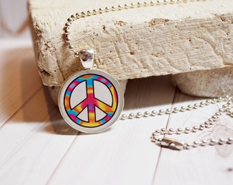 Peace pendant, tie dye jewelry, colorful peace jewelry, gift for her, gifts under 15, resin pendant, peace symbol jewelry, peace symbol gift