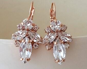 Bridal earrings,Rose gold earrings,Clear crystal earrings,Crystal drop earrings,Bridesmaid gift,Petite earrings,Vintage Bridal earrings