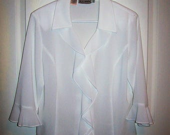 Vintage Ladies White Ruffled Front Blouse by K. C. Studio Size 8 Only 8 USD