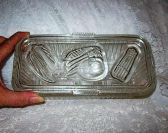 Vintage Clear Ribbed Glass Refrigerator Dish Storage Container w/ Vegetable Pattern Lid by Federal Only 10 USD