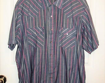 """Vintage Men's Gray Striped Snap Front Western Shirt by Ely Cattleman Extra Large 17 1/2"""" Neck Only 9 USD"""