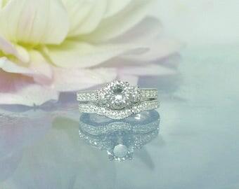 Antique Style Wedding Set, Unique Wedding Set, Unique Sterling Wedding Set, Herkimer Diamond Ring, Natural Diamond Alternative