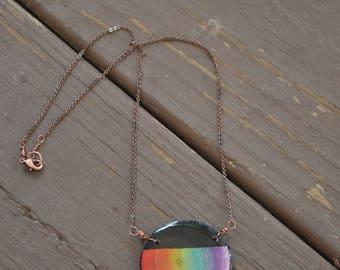 Black and Rainbow Necklace Handmade OOAK REAL Wood