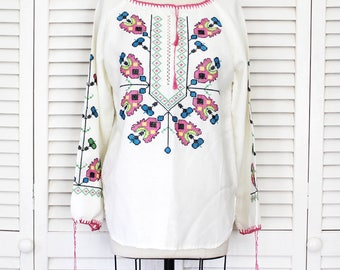 Vintage 1970s Cross Stitch Embroidered Floral Long Sleeve Mexican Blouse