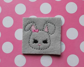 Bunny with bow face feltie, Gray Easter bunny feltie, Easter bunny with pink bow feltie, Girl bunny feltie , Easter felties for crafts