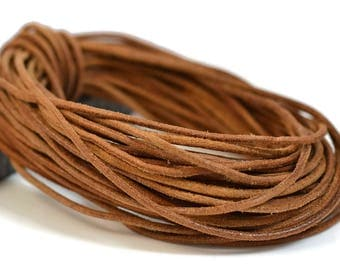 2mm Natural Rawhide Cord - Round Distressed Leather