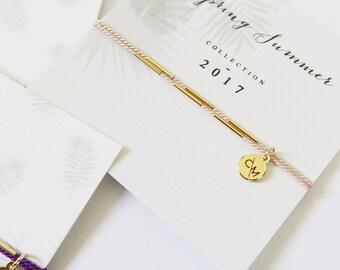 Bracelet soie 2 rangs amitié // silk and tubes friendship bracelet