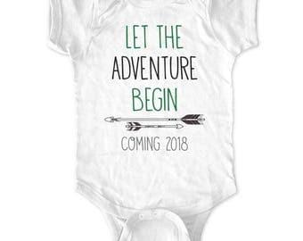 Let the Adventure Begin Coming 2018 - boho White Newborn Bodysuit Baby Birth Pregnancy Announcement