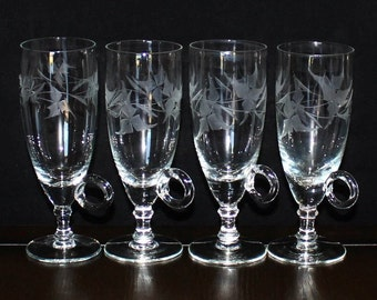 Gorgeous Vintage, Set of 4, Handled, Leaf Etched, Hot Toddy, Irish Coffee Glasses