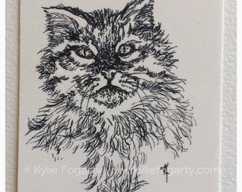 "Cat - ACEO / ATC PRINT, Black and White, Line Drawing, Animal Art, ""Fluffy Kitty"", Fine Art print - Unique Gift"