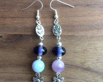 Flower drop earrings, dangly earrings, purple earrings, gemstone earrings, purple glass earrings.