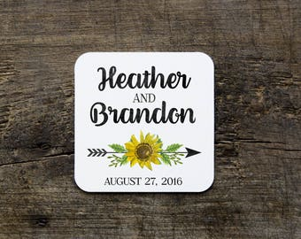Sunflower Wedding Coasters, Sunflower and Arrow Coasters, Disposable Wedding Coasters, Custom Coasters, Wedding Favor, Bridal Shower Favors