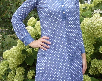 denim chambray look POLKA DOT SHIFT dress vintage 70's S