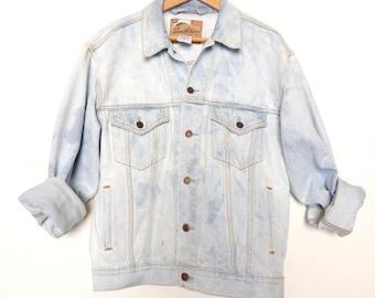 Reclaimed Acid Wash Levi Strauss Mens Jean Jacket Denim Trucker Standard Size Medium