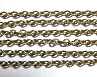 Antique Bronze Cable Chain - 3.5X3mm Brass Chain - 5 Feet, (INDOC37)