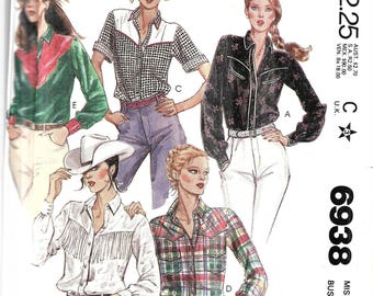 Misses Western Shirt Pattern, Cowgirl Shirt Pattern, Rodeo Shirt Pattern, Cowboy Shirt for Women, Cowgirl Shirt with Fringe, Size 14 Bust 36