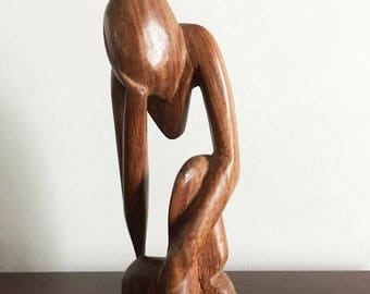 The Thinker / Abstract Thinker / Vintage Modern Art / Small Wooden Statue / Gift for Boss