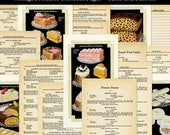 Printable Vintage Cookbook Pages French Pastries Recipes and Illustrations Digital Download JPG Format