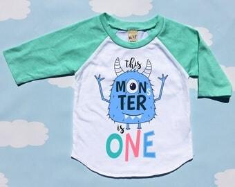 Monster First Birthday Shirt, Monster Birthday Shirt,First Birthday Boy,1st Birthday Outfit, First Birthday Outfit, Monster Birthday, Raglan
