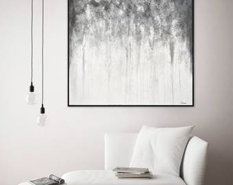 Original painting 36 x 36 large art square abstract oil painting wall art contemporary modern art gray white by L.Beiboer