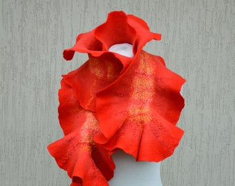 Nuno felted scarf. Red orange yellow felted scarf.  Wool silk nuno felted scarf stole. Beaded scarf