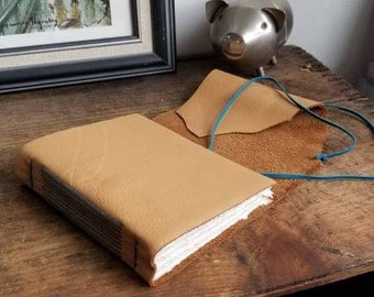 Handmade Leather Journal, Ochre Yellow 4.75 x 6 Journal by The Orange Windmill on Etsy 1841