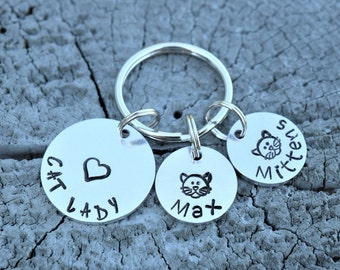 Cat lady keychain,  personalized cat keychain,  personalized pet keychain, cats keychain, gift for cat lady, gifts for cat lovers, crazy cat