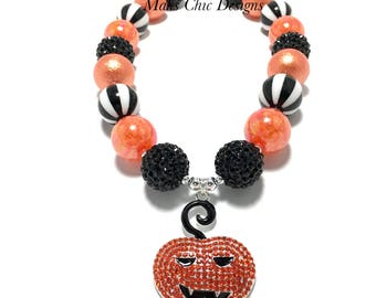 Toddler or Girls Pumpkin Rhinestone Chunky Necklace - Black and Orange Chunky Necklace - Halloween Pumpkin Chunky Necklace - Boo Necklace