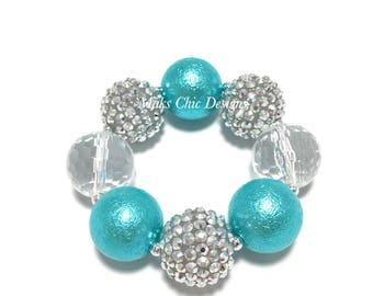 Toddler or Girls Silver and Turquoise Chunky bracelet - Snowflake Birthday Bracelet - Girls Christmas bracelet - Princess Christmas Bracelet
