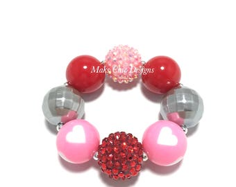 Toddler or Girls Red, Silver and Pink Heart Chunky Bracelet - Valentine's Day Bracelet - Toddler Chunky Bracelet - Princess Heart Bracelet