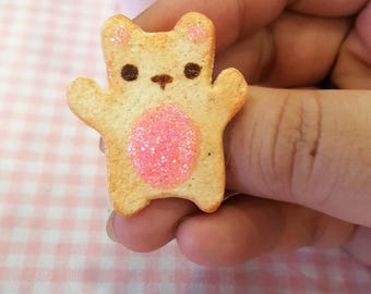Polymer Clay Cookie Bear Pin