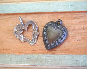 Vintage Sterling Silver Heart Charms, puffy 3D victorian flour di lis embossed, open forget me not etched romantic bracelet pendant SALE