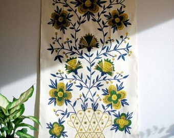 Vintage Kay Dee Handprinted 100% Linen Towel or Tapestry - Wall Hanging, Blue, Green, Yellow, Floral, John L Gieroch