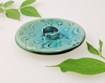Star and Moon Ring Dish, Turquoise, Ring Dish, In-Stock