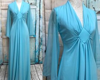 70s Blue Goddess Maxi Dress Sheer Flutter Sleeve