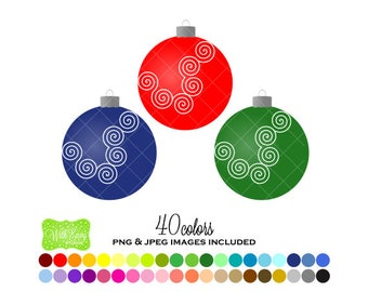 SALE Christmas Ornaments Digital Clipart - Rainbow Ornaments Clipart - Ornament Clipart - Ornament Graphics - Personal and Commercial Use