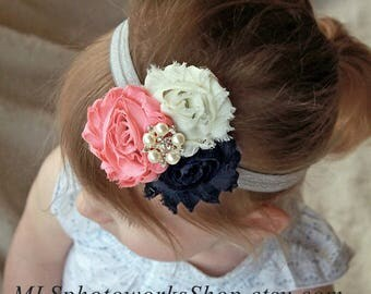 Navy Blue, Ivory & Light Coral Pink Baby Girl Headband - Vintage Fall Color Palette Hair Bow for Babies, Toddlers and Girls