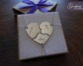 Three Silver Puzzle Necklaces - Handmade Three Piece Heart - Personalised Puzzle Pendants - Family Pendants